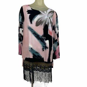 Adore Abstract floral pink tunic top lace tassels